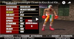 This clown is a hidden boxer in the boxing game Knockout Kings 2000.