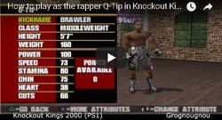 How to unlock the rapper Q-tip in the boxing game Knockout Kings 2000.