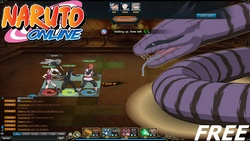 Naruto, Sasuke and Sakura vs a serpent invocated by Orochimaru in the game Naruto Online.