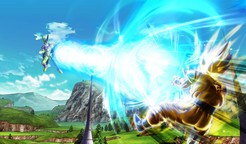 Goku fires a kamehameha at Cell in Dragon Ball Xenoverse.